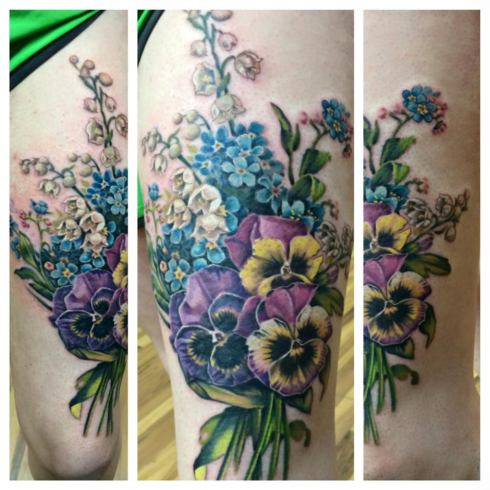 Bouquet Of Flowers Tattoo Done By Chris Burke At Serenity Ink